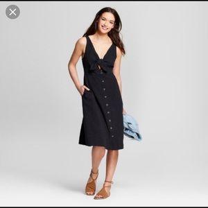 Black Linen Midi Dress